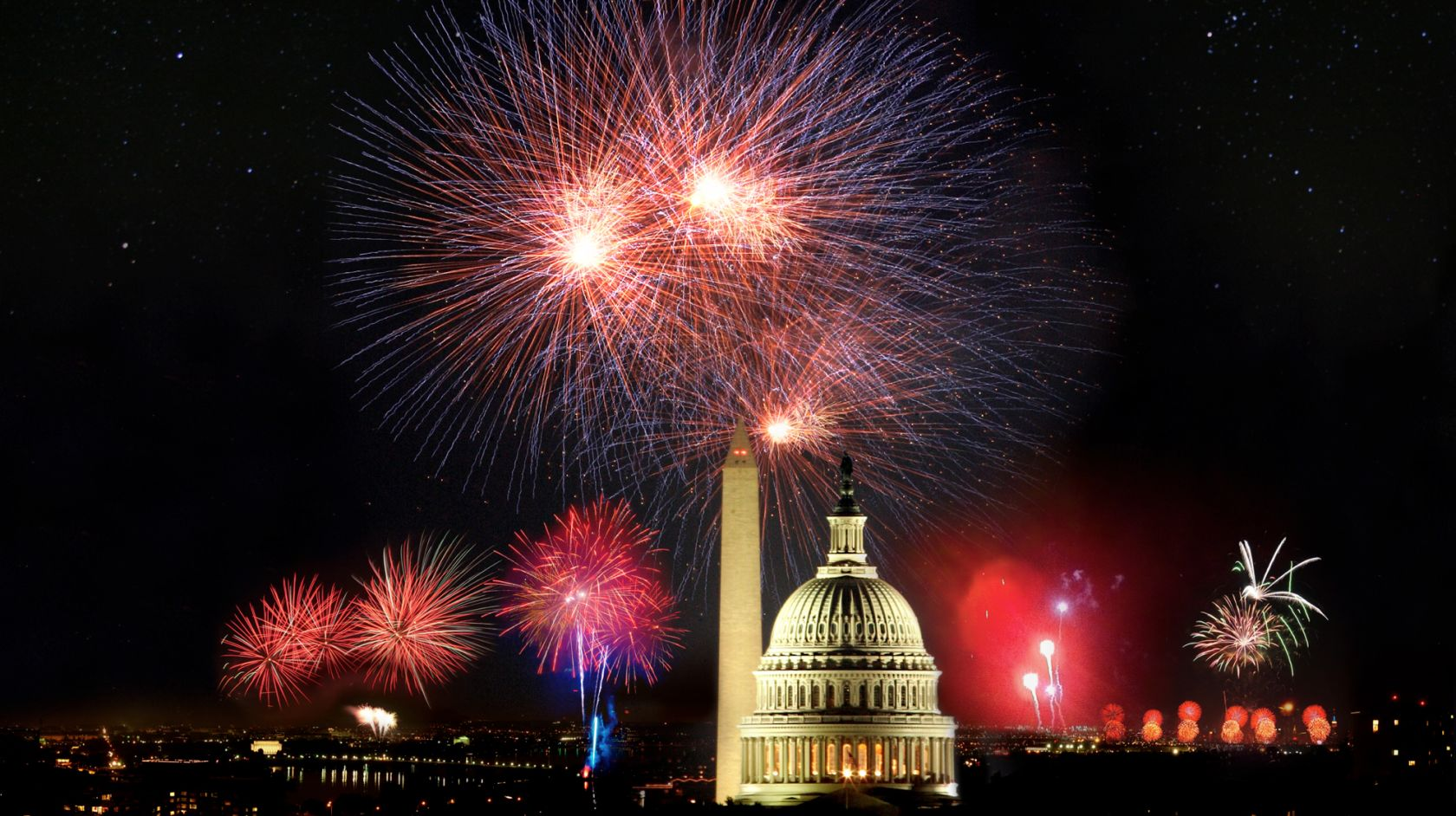 Patriotic fireworks explode over iconic Washington DC landmarks